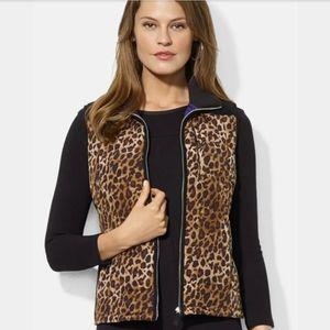 RL Leopard black puffer vest suede 🍂 small